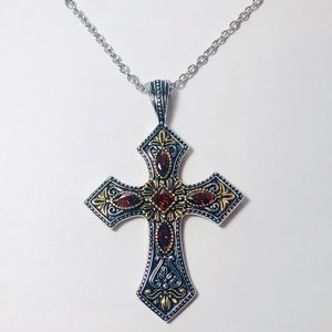 Jewelry - Simulated Amber Austrian Crystal Cross Necklace